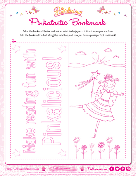 Pinktastic Bookmark Coloring Page