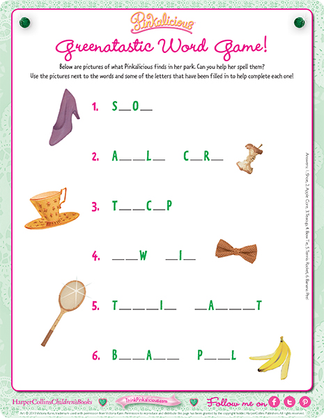 image regarding Printable Word Games referred to as Greentastic Phrase Activity Pinkalicious Things to do Printables