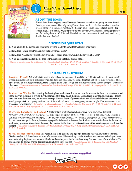 pinkalicious school rules i can read level 1