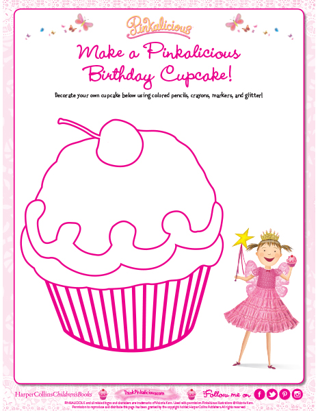 Decorate a Pinkalicious Birthday Cupcake Coloring Page